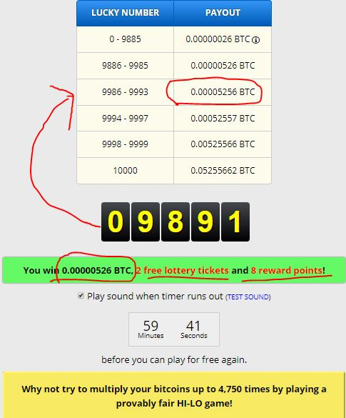 A decent 526 satoshi win. The red arrow should be pointing to the row ABOVE current row.