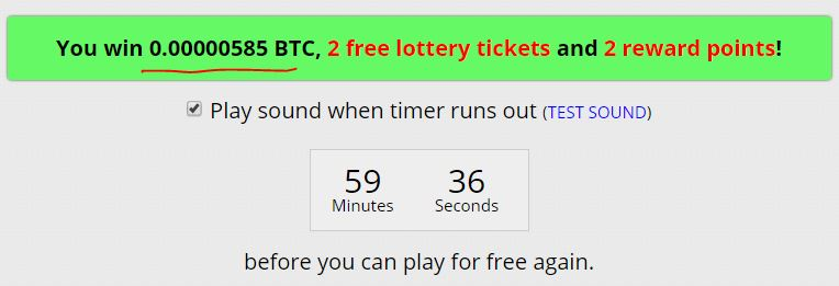 585 satoshis. Still trying to hit the 5 million+ satoshi jackpot. What does it cost me? 10-30 seconds an hour.