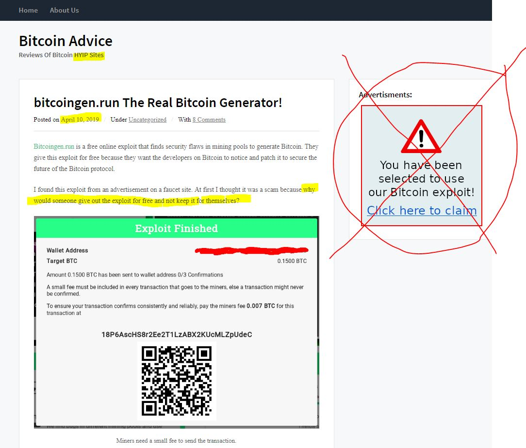 """RUN for any """"HYIP"""" sites like this one (highlighted in yellow at the top). HYIP = High Yield Interest Programs. These are synonymous with scams. STAY AWAY. Notice how they try to get you to act on a sense of urgency with the BS ad on the right side."""