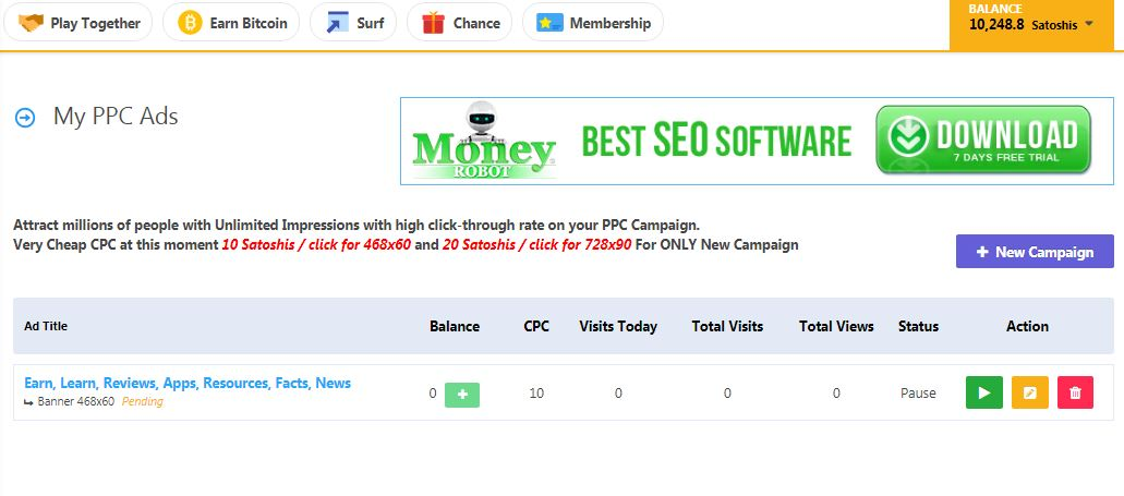 Time to test the banner ads. I'm using free Bitcoin I earned from this site to get extra traffic to this site.