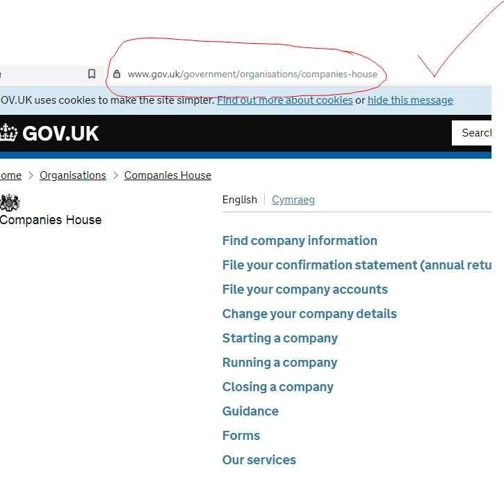 This is the real page. Compare the two web addresses circled in red.