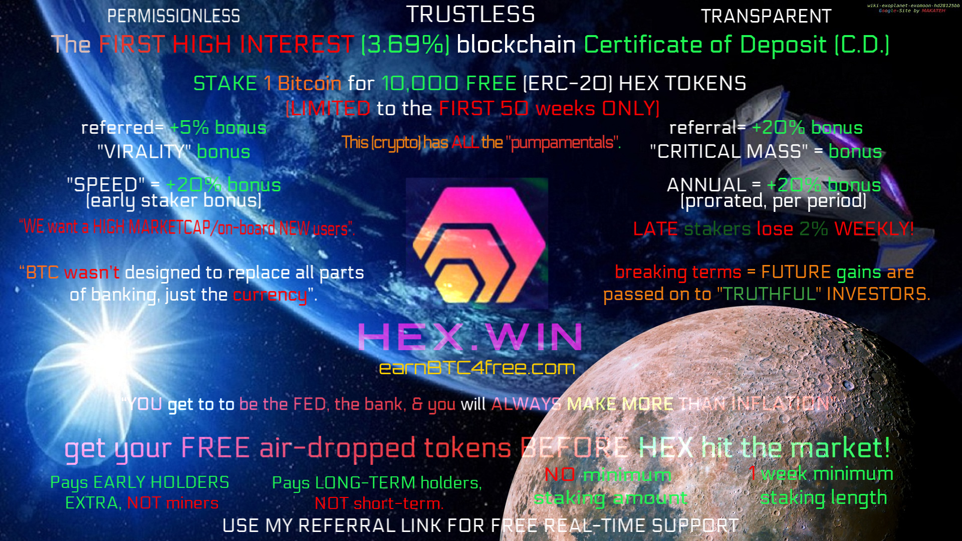 "https://www.earnbtc4free.com/promos-1/2019/4/16/free-hex-airdrop     The importance of consistency is highlighted below, ""loyalty bonuses"" add 1% to your previous streak, up to max 100% bonuses."
