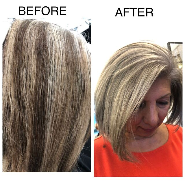 This lady decided to start embracing her grey and needed to break away from monthly coloring sessions. Thanks to Schwatzkopf's blonde me products and hours of fine weave highlighting and lowlights... Gina is 'grey' 🥂🥂#schwartzkopfprofessional #blondemeschwarzkopf #zurichhairstylist #zurichhairsalon #haircolorspecialist