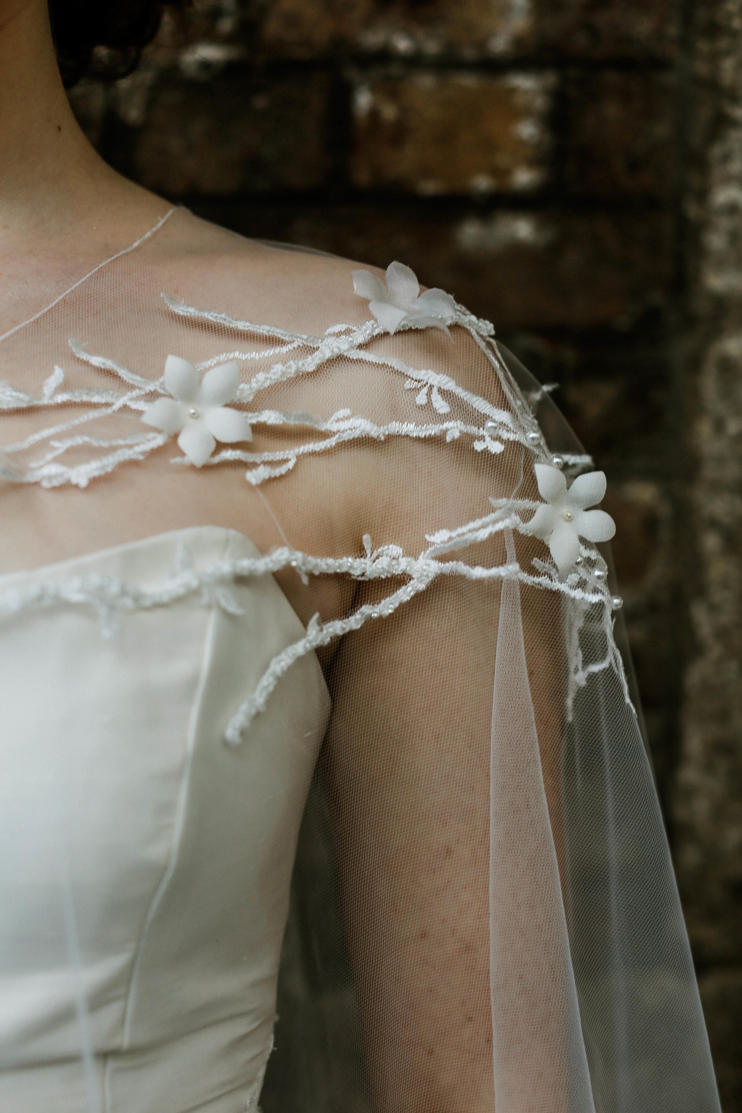 Blossom couture wedding cape, silk flowers
