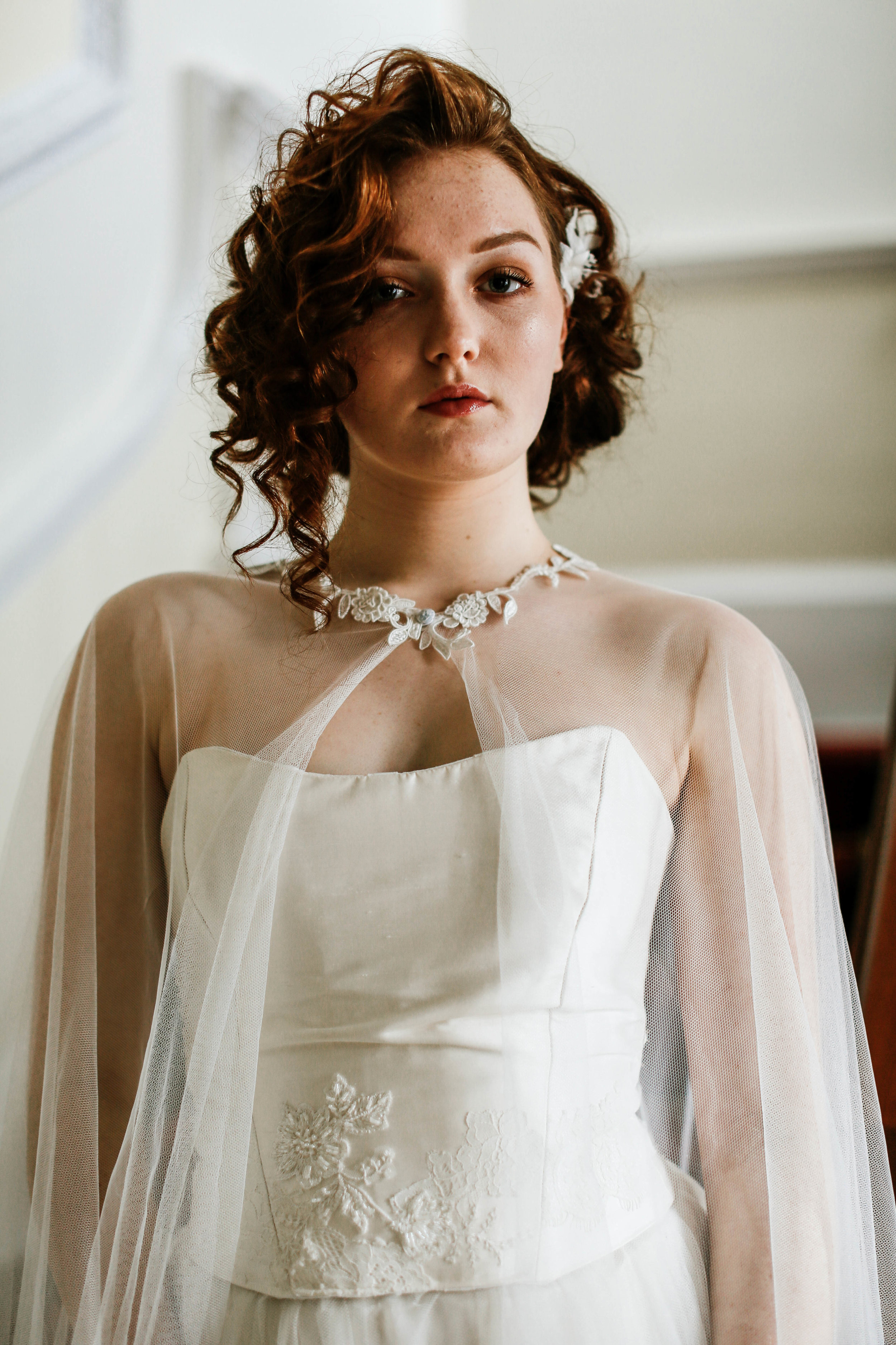 Couture bespoke wedding cape, hand made in Truro, Cornwall UK