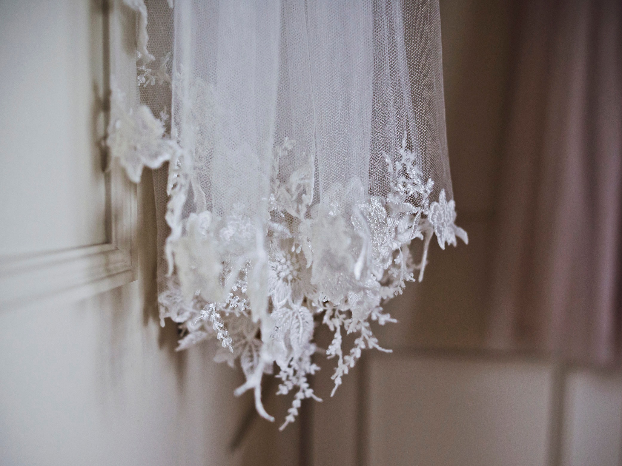 Bespoke pure silk tulle and floral wedding veil, Truro, Cornwall, UK