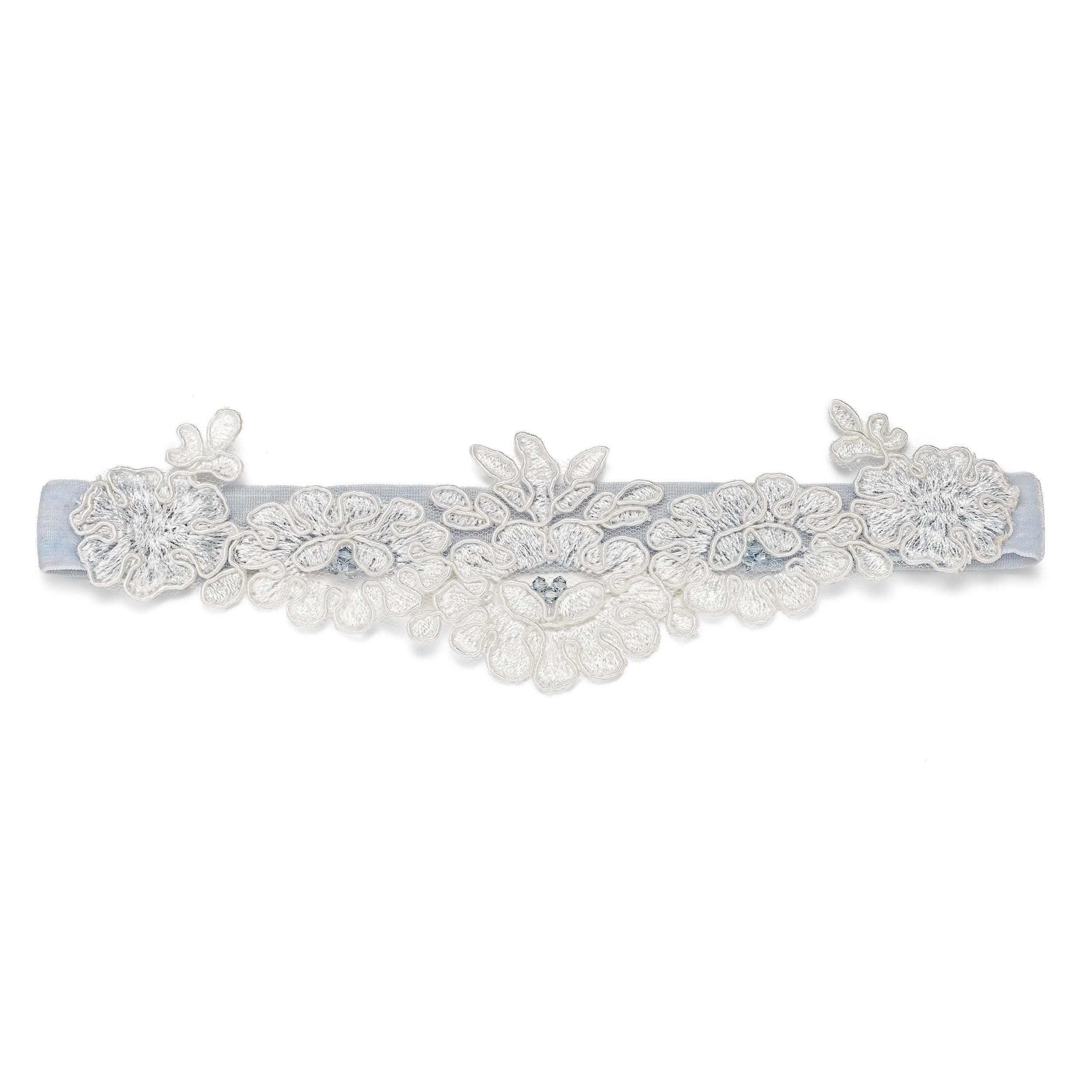 Something blue velvet and lace wedding garter