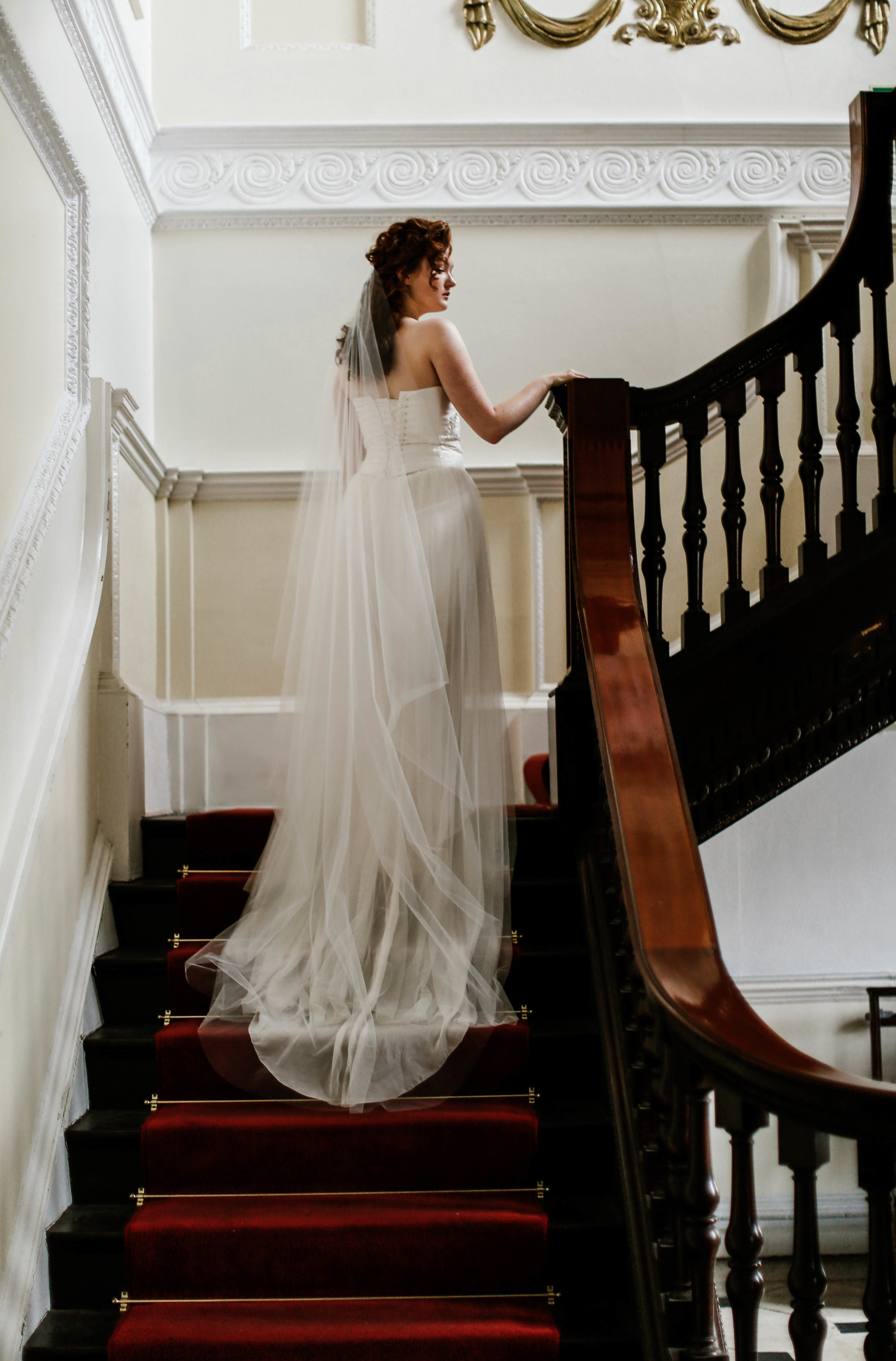 Long, cut edge wedding veil, bridal couture, Truro, UK