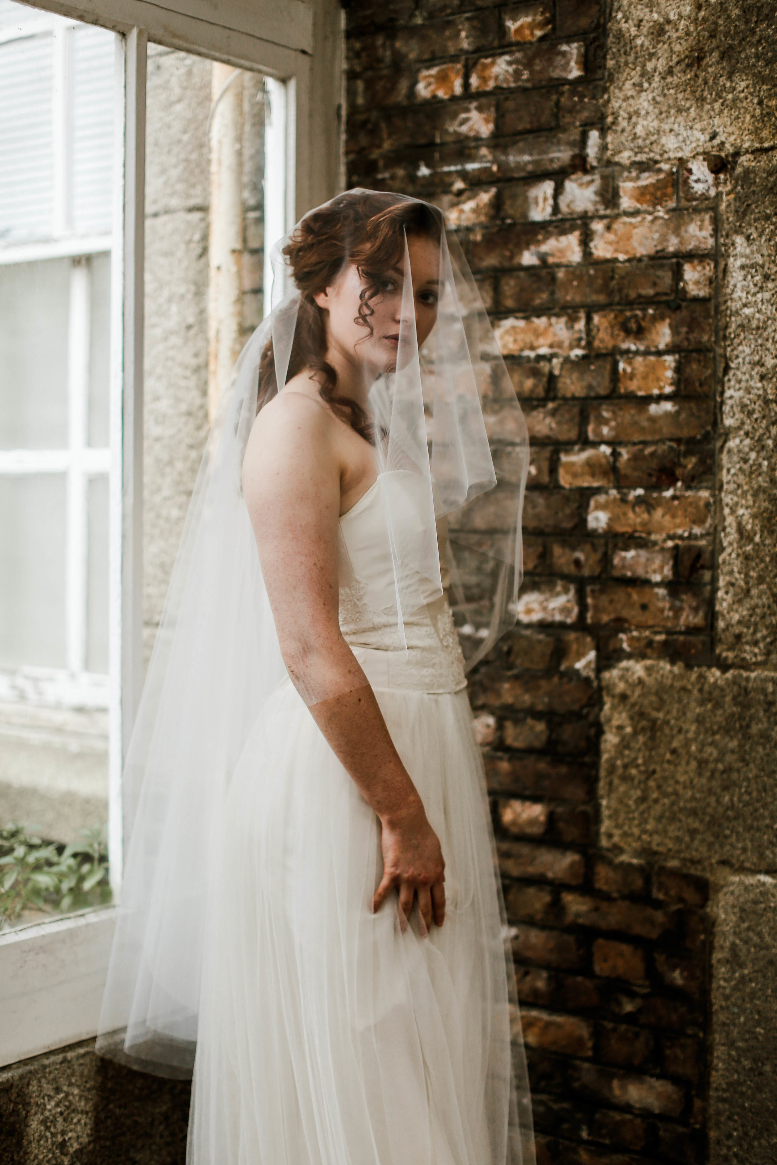 Fingertip wedding veil with blusher. Bespoke veils, Truro,  Cornwall, UK