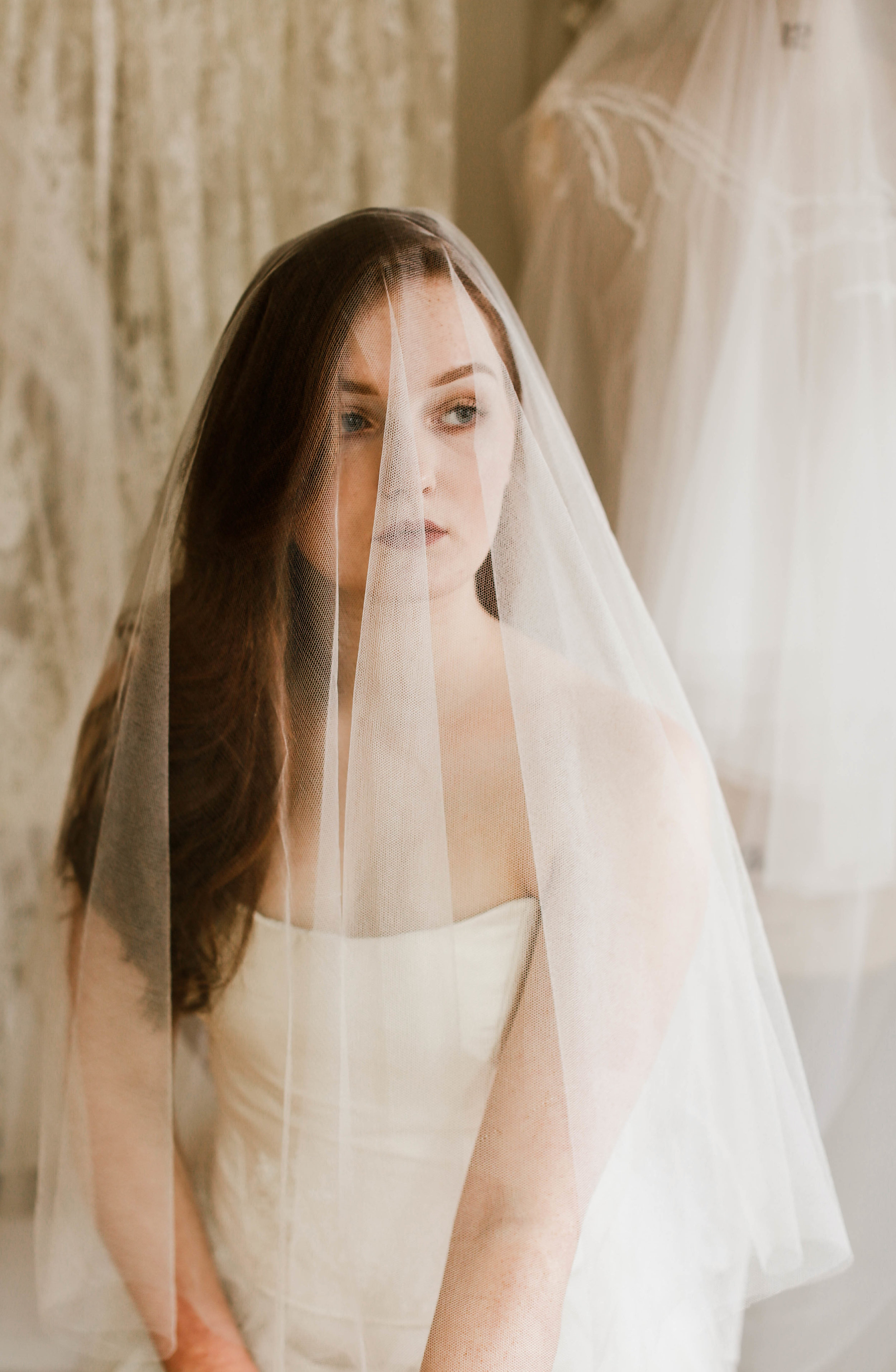 Pure silk tulle drop veil, bespoke length, Cornwall, UK