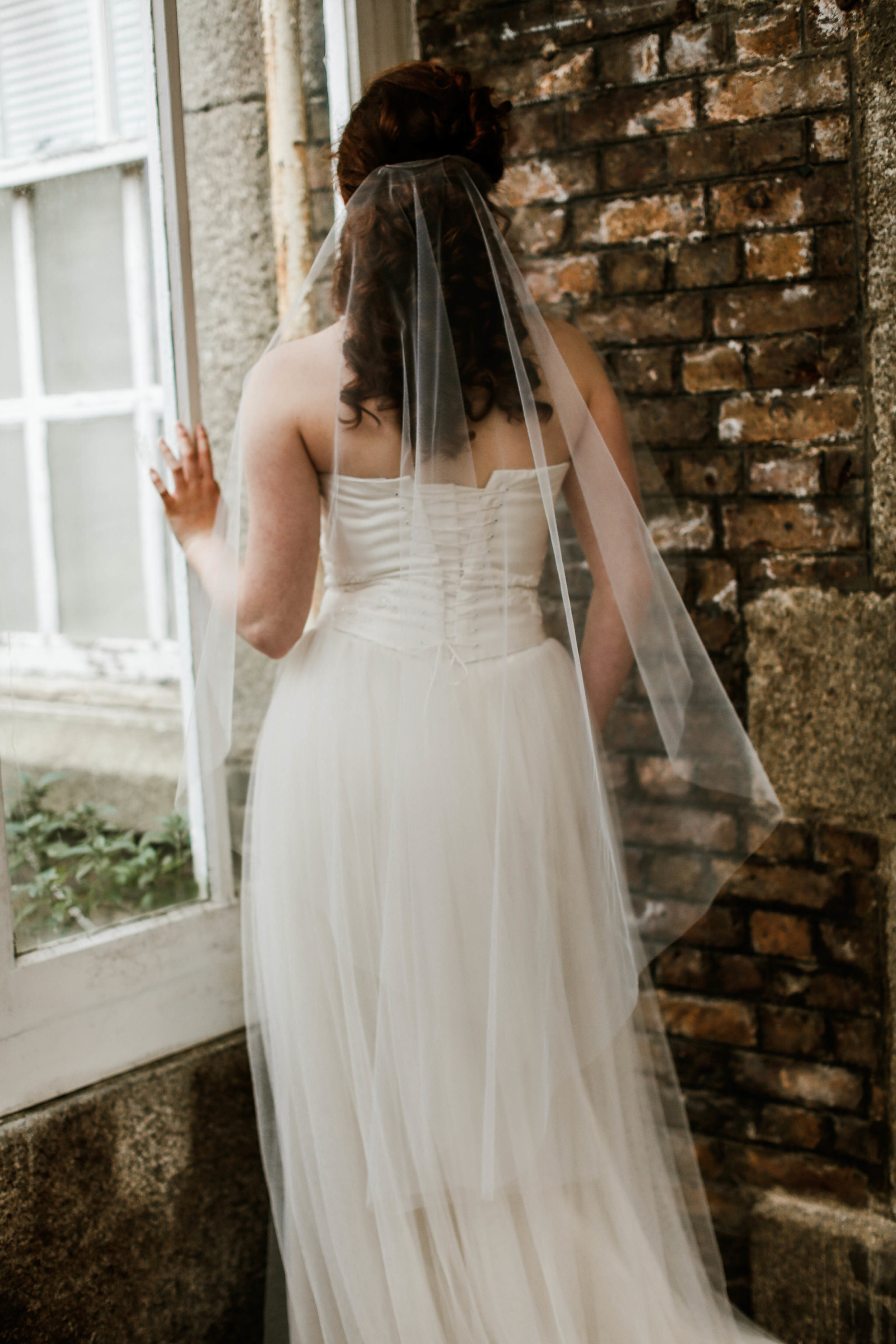 Simple wedding veil with no gather. Wedding accessories in Cornwall, UK