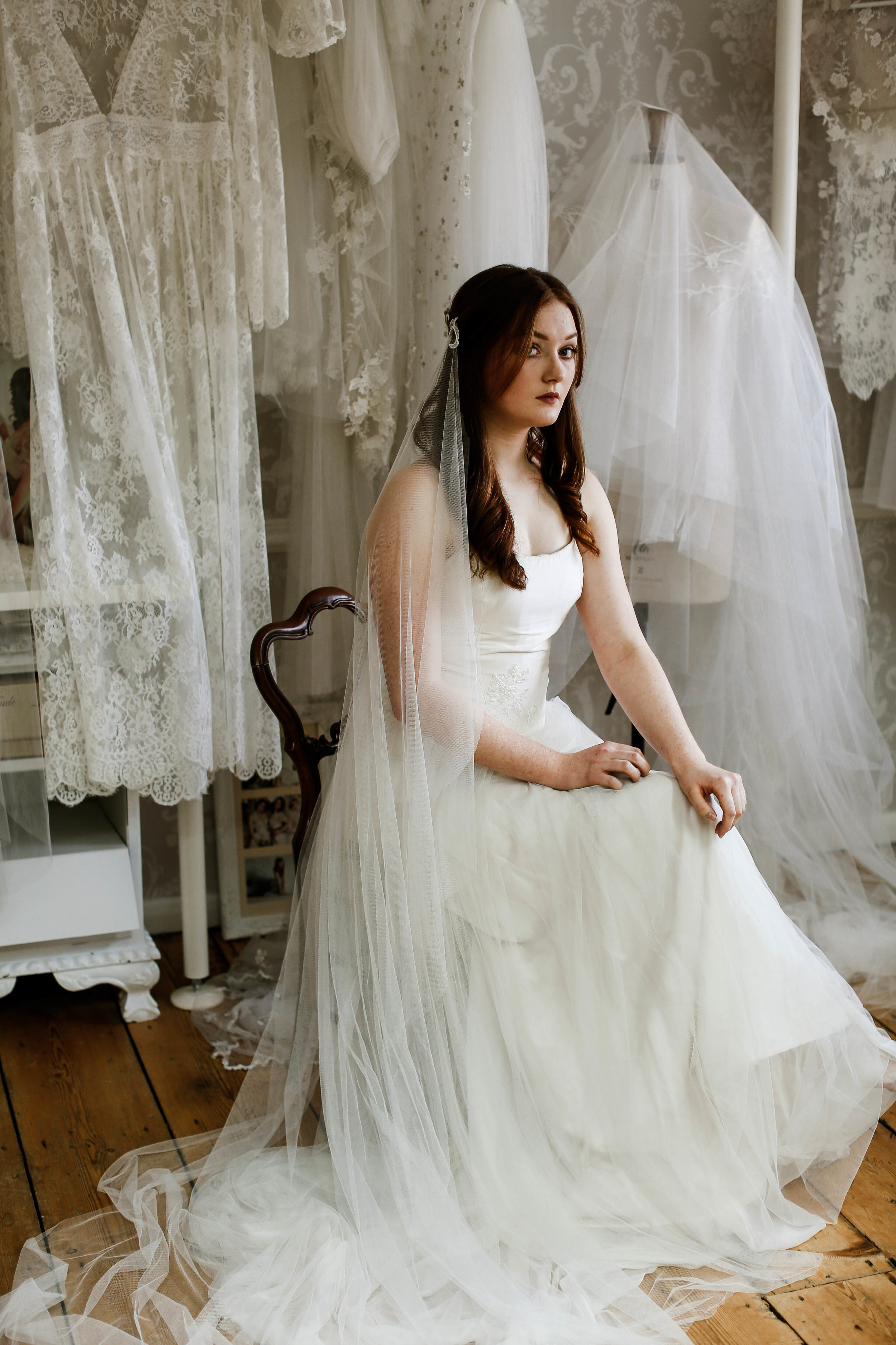 lace couture wedding veil, made to order in Truro, Cornwall, UK