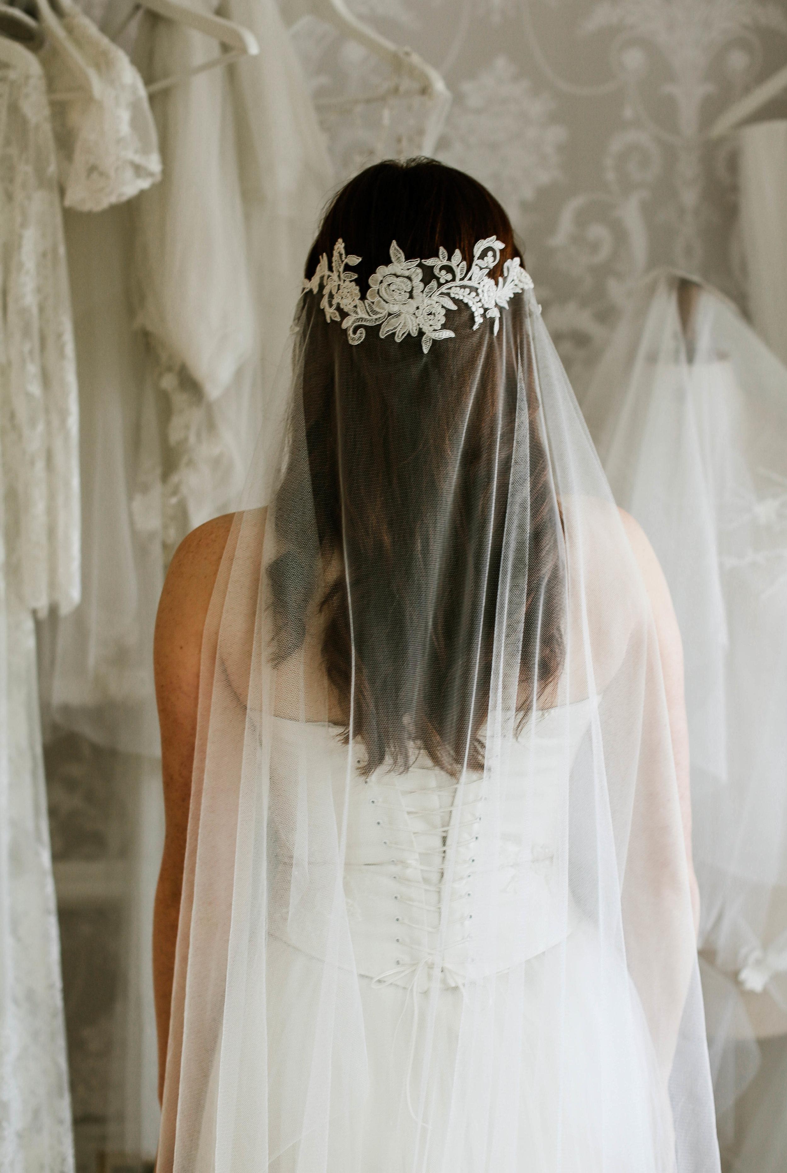 Lace wedding veil, juliet cap bridal veil, hand made in Truro, Cornwall