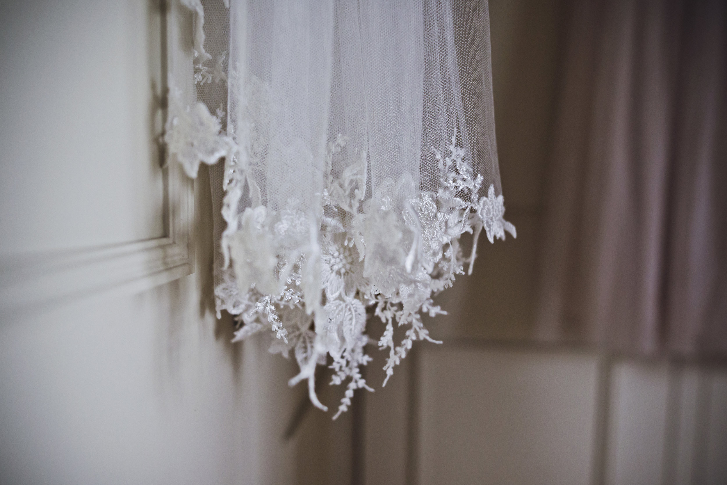 Lace trimmed couture wedding veil, Hand made in Cornwall, UK
