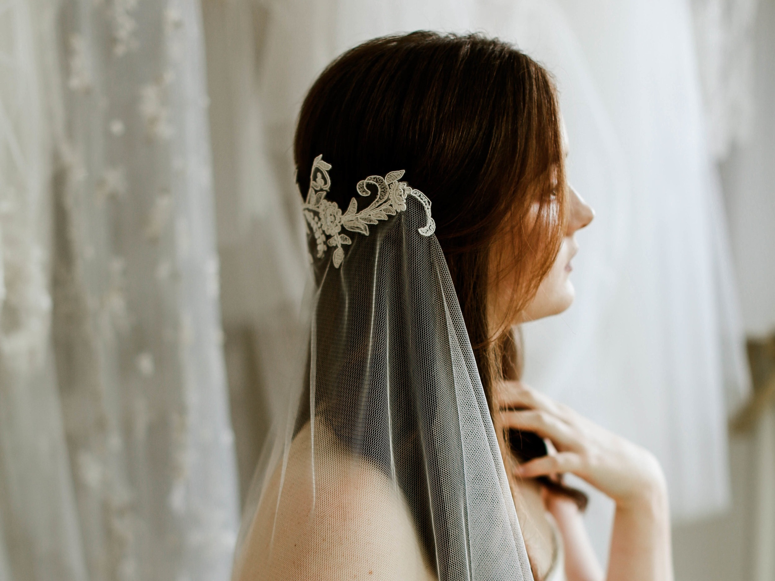Lace wedding veils, made in Truro, Cornwall, UK
