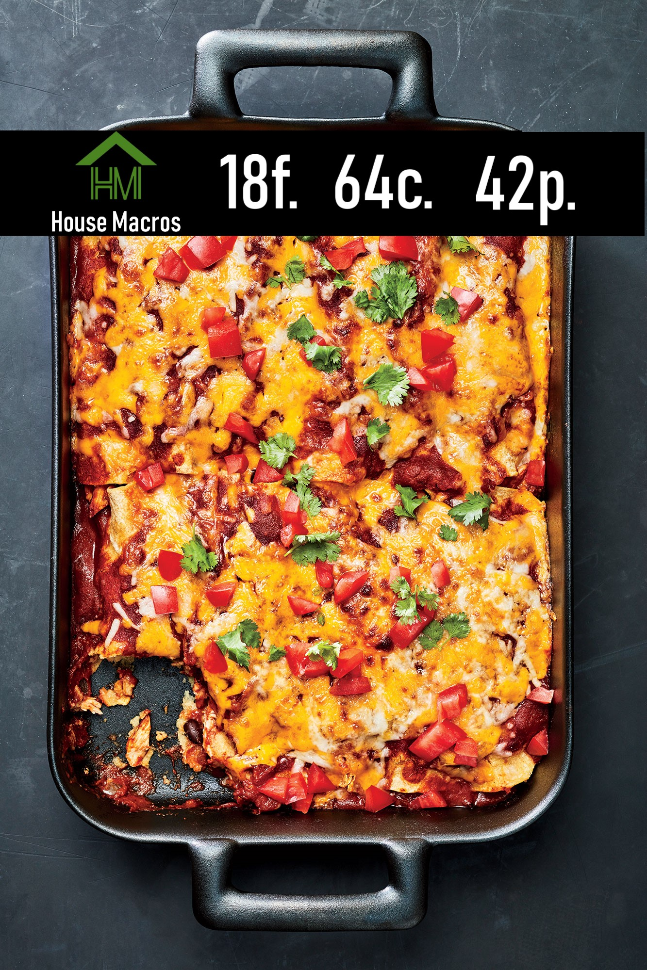 Nutrition Information Serves: 8-10 Serving Size: 1 equal part Calories: 571 / Fat: 18g / Carbs: 64g / Protein: 42g