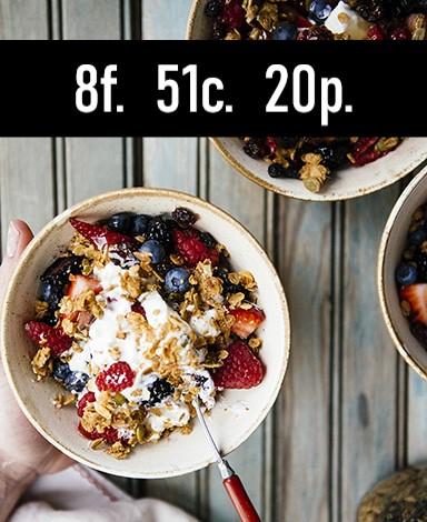 Nutrition Information    Serves: 1    Serving Size: 1 parfait    Calories: 364 / Fat: 8g / Carbs: 51g / Protein: 20g