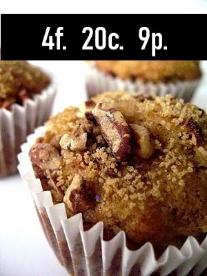 Nutrition Information    Serves: 6 muffins    Serving Size: 1 muffin    Calories: 149 / Fat: 4g / Carbs: 20g / Protein: 9g