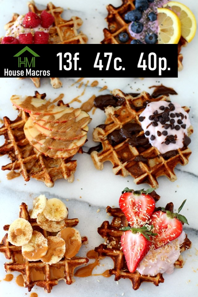 Nutrition Information    Serves: 1 Waffle    Serving Size: 1 Waffle    Calories: 509 / Fat: 14g / Carbs: 47g / Protein: 40g