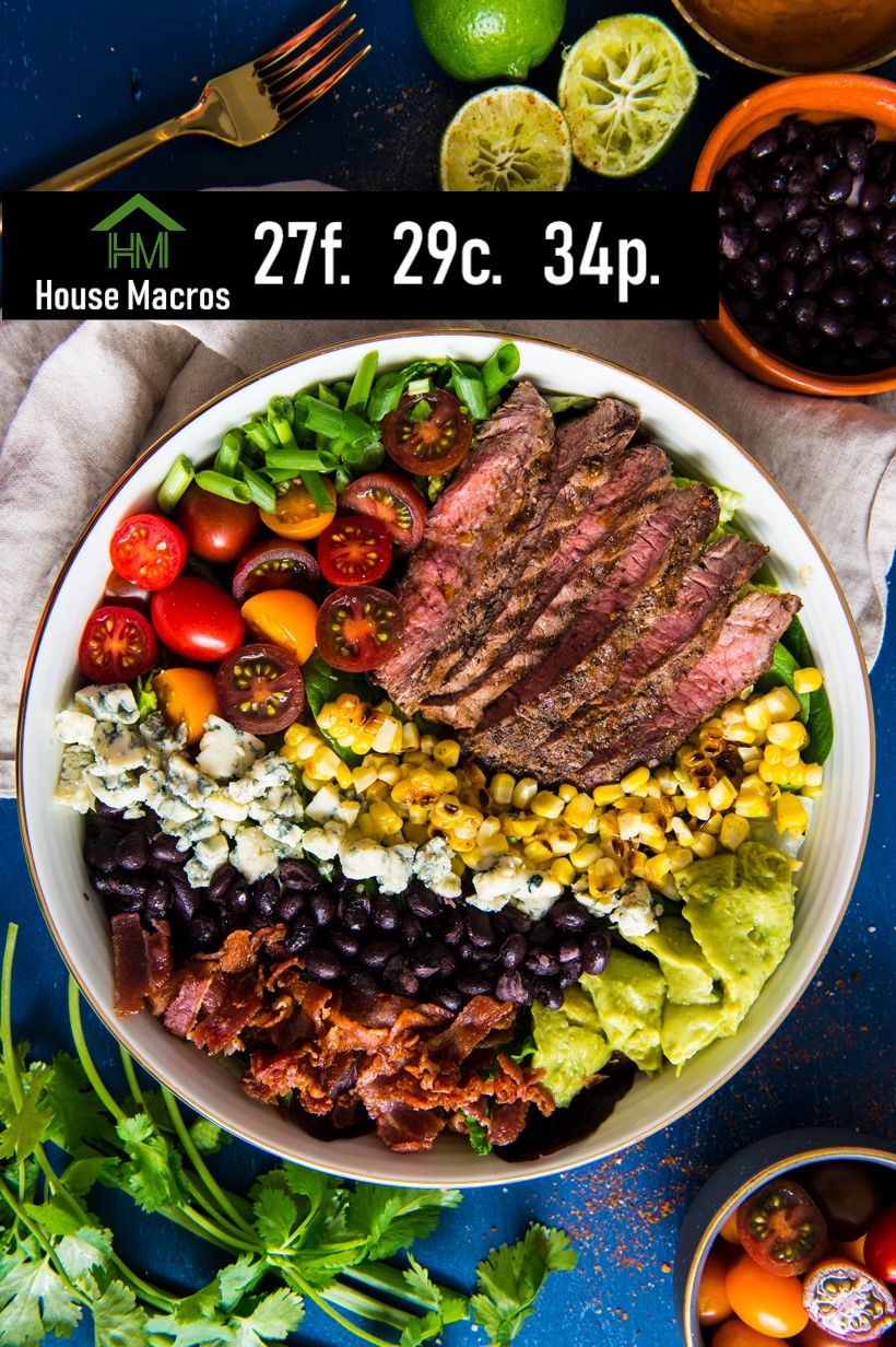 Nutrition Information    Serves: 8    Serving Size: 1 Serving: 2oz steak, 1/4 cup corn, 1/4 avocado, 1/4 cup tomato, 1/2 strip bacon, 1/2 cup black beans, pinch blue cheese.    Calories: 338 / Fat: 22g / Carbs: 21g / Protein: 36g