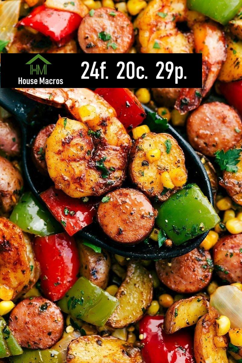Nutrition Information    Serves: 6    Serving Size: 1 Serving: 2oz Shrimp, 2oz Sausage, 2oz (1/4 cup) potatoes, 1/4 cup corn    Calories:369 / Fat: 24g / Carbs: 20g / Protein: 29g