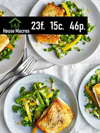 Nutritional Information    Serves: 4    Serving Size: Serving size: 1 fillet, 2/3 cup vegetables    Calories: 371 / Fat: 20g / Carbs: 15g / Protein: 30g
