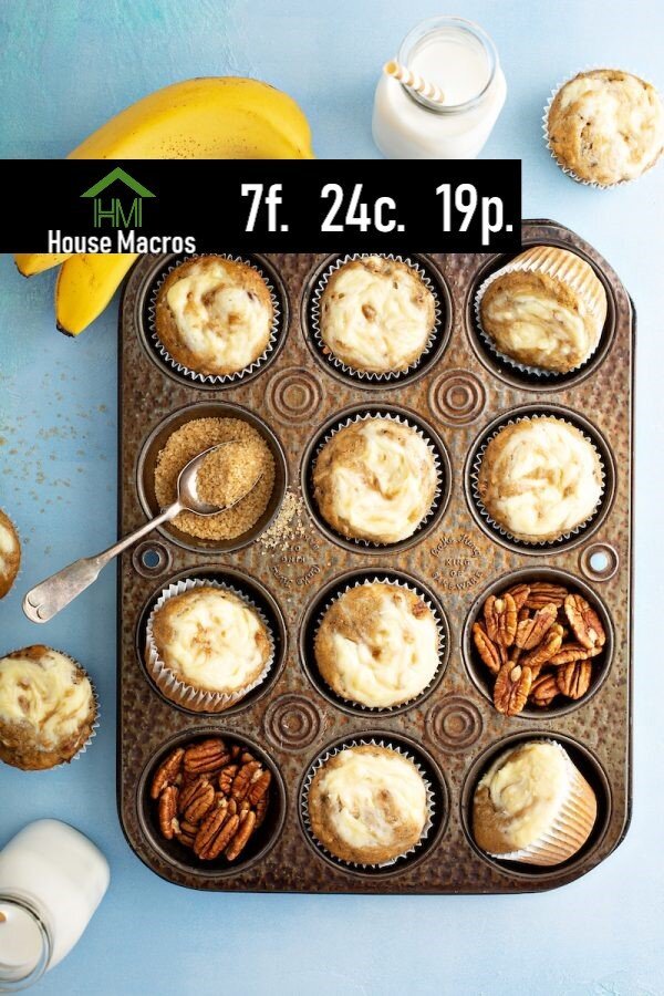 Nutrition Information    Serves: 6 muffins    Serving Size: 1 muffin    Calories: 231 / Fat: 7g / Carbs: 24g / Protein: 19g