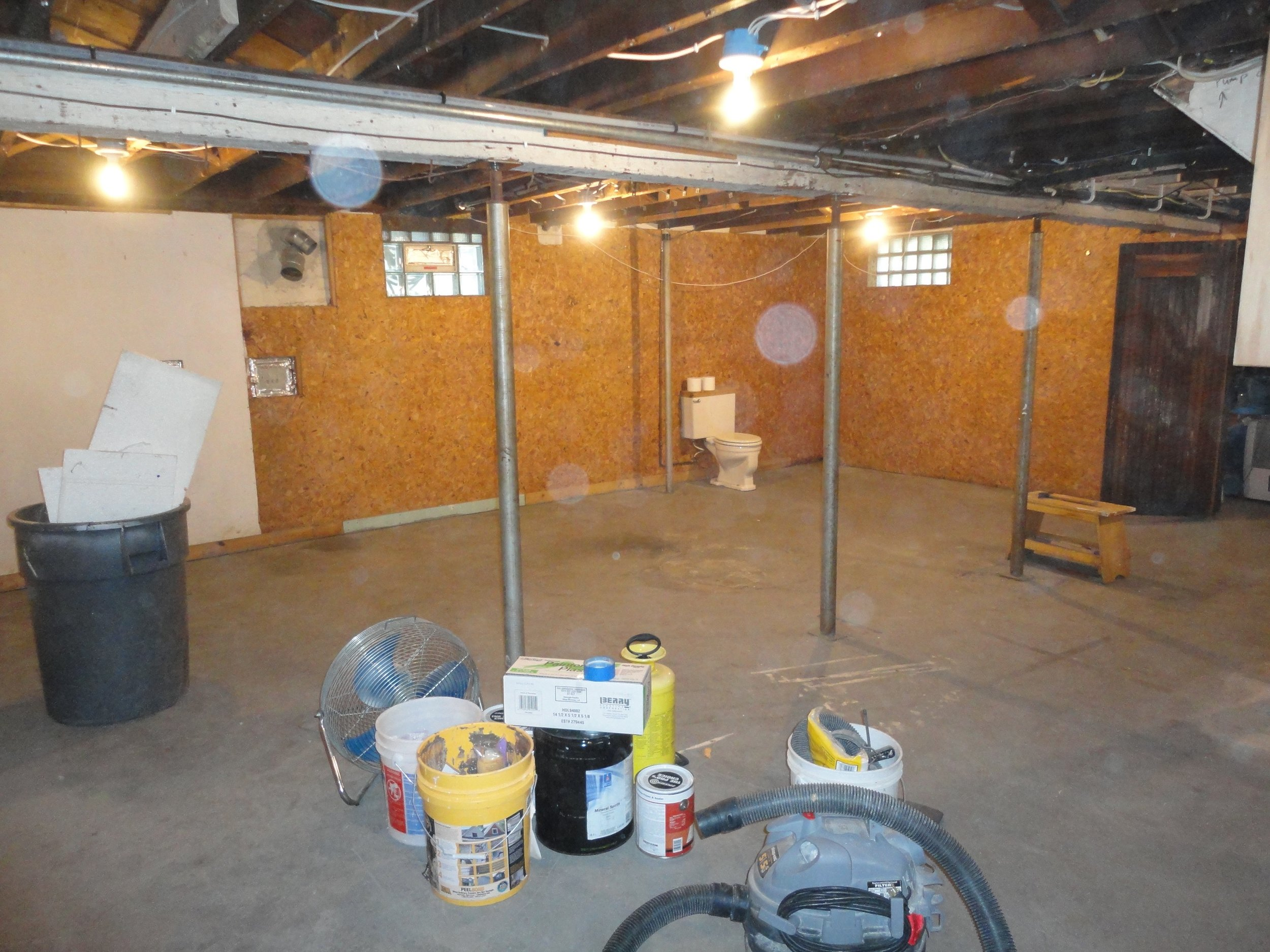 The basement was unfinished prior to the remodel.