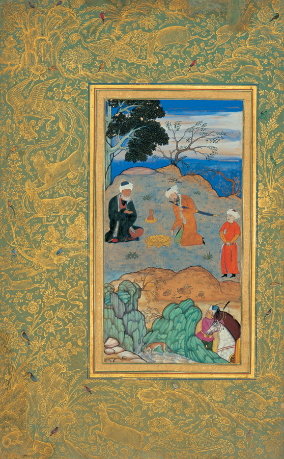 Behzad's  Advice of the Ascetic  (c. 1500-1550) Conserved in Golestan Palace, Tehran, Iran