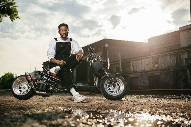 @kazrobot and his modified Honda Ruckus. If you have an interesting vehicle or know someone that does, send me a DM! I'm looking to create a series of portraits of people and their vehicles. #hondaruckus #hondaruckusbuild