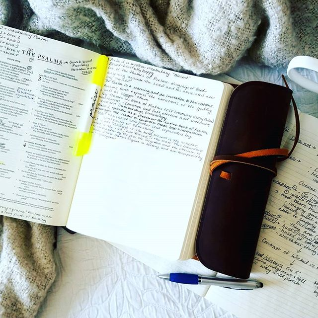 My husband and I laugh at the different ways we study. When time permits I take over my kitchen table with 3 Bibles, commentaries, highlighters, and journal. I love sitting in coffee shops or libraries and  journaling about Scripture for hours. I'm a visual learner and I love diagramming and re-writing verses I want to meditate on. - My husband has never put a highlighter to a Bible. He's journaled less than 10 times. When the Bible App came out and he learned he could listen instead of read he was thrilled. He's an auditory learner, and he doesn't enjoy sitting still. He hates libraries, and the only time he ever studied in one was so he could flirt with me in college because that's where I was. 😂😂 - And oh how this man loves and knows God's words. For almost every day of 16 years of marriage he's studied them. I get teary-eyed watching him pace around our backyard in the morning with headphones on, listening to and meditating on Scriptures and sermons….because I know these words are the very thing that have made him such a wonderful man, husband, and father, and they convict him when he's not. - Different approaches to Scripture…neither better, both a reflection of the beautiful ways God has made us. - God's words are for the auditory and visual learner. They are for the introvert and the extrovert, the free spirit and the nerd. These words are for the thinker and the feeler, the peacemaker and the challenger, the leader and the follower. - Never before have we had such a plethora of resources to cater to personalities and learning styles. Beautiful, God-centered resources…pretty journaling bibles and heady commentaries and audio materials and highlighters…the list goes on. And yet the data speaks contrary to what we might think. Bible reading is declining. - This data reminds me there is an enemy prowling around like a lion (1 Peter 5:8), literally hell-bent on trying to keep us from picking up these words today. And he'll try again tomorrow. The devil knows thes