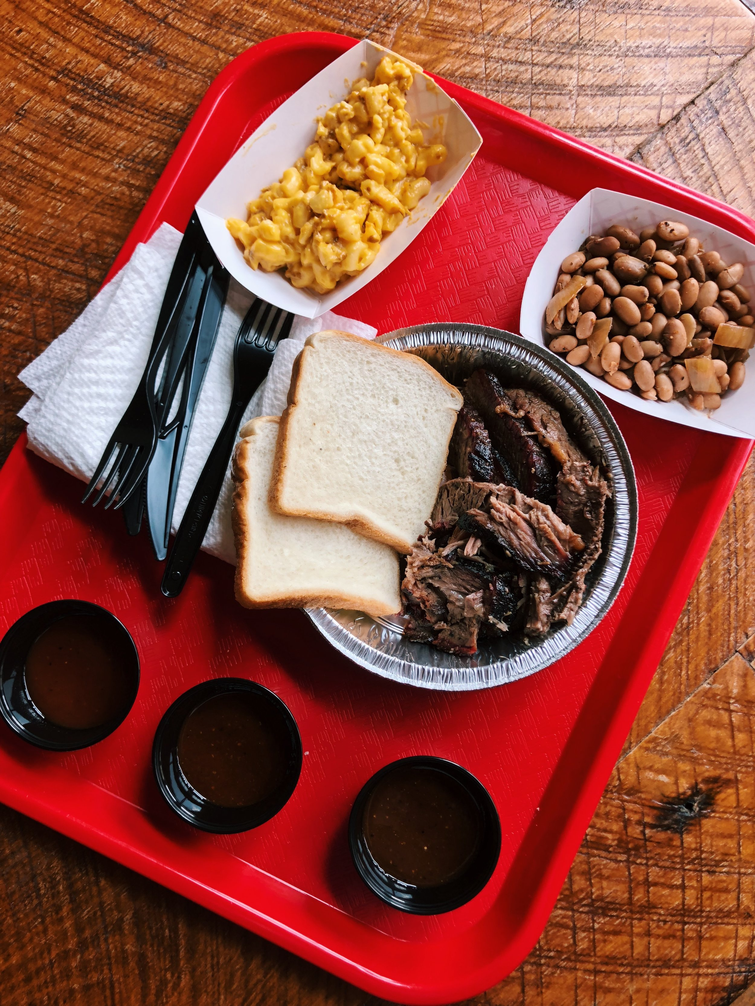 Brisket, beans, and mac & cheese from Backcountry BBQ