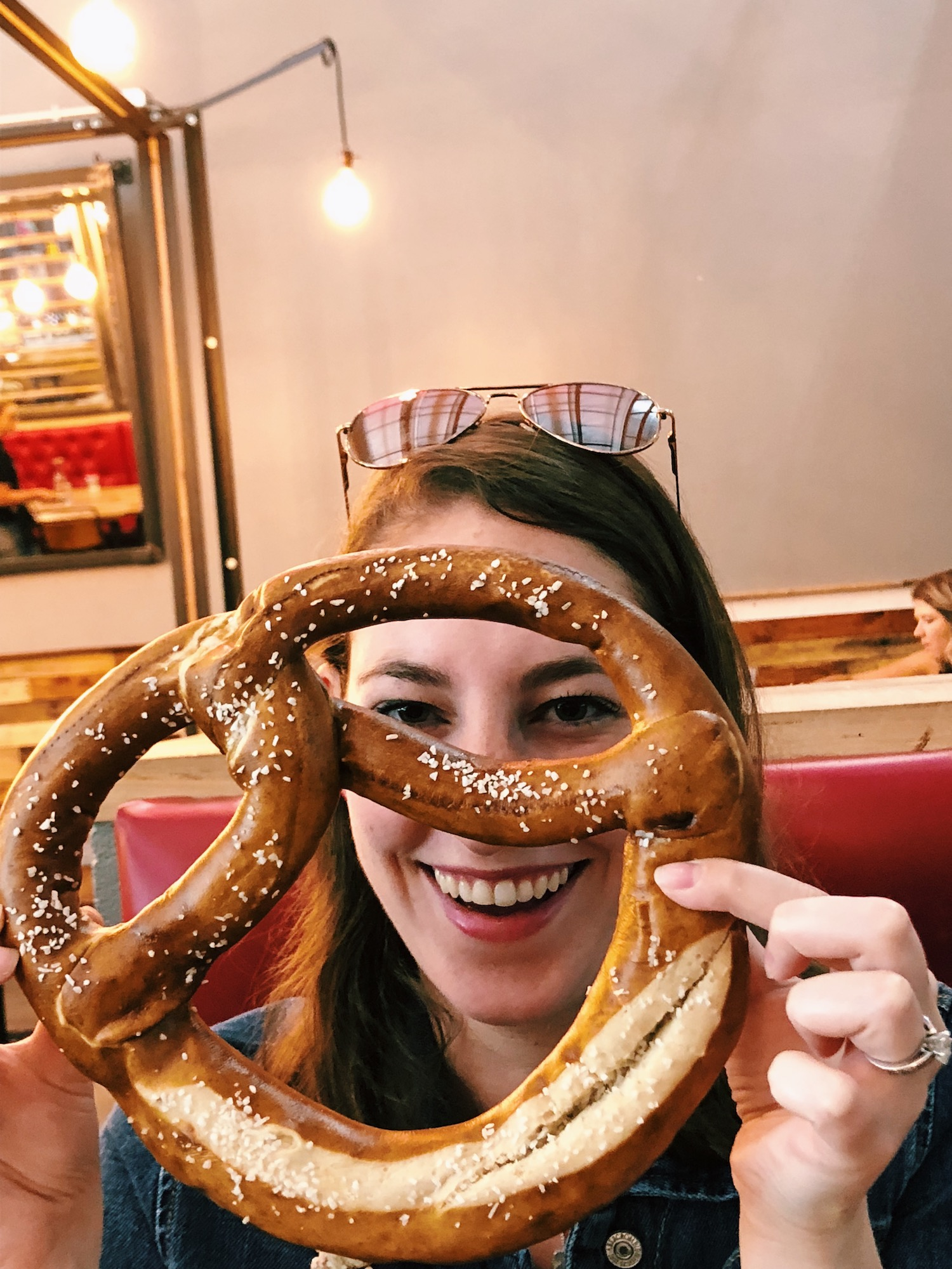 Giant face-sized pretzel