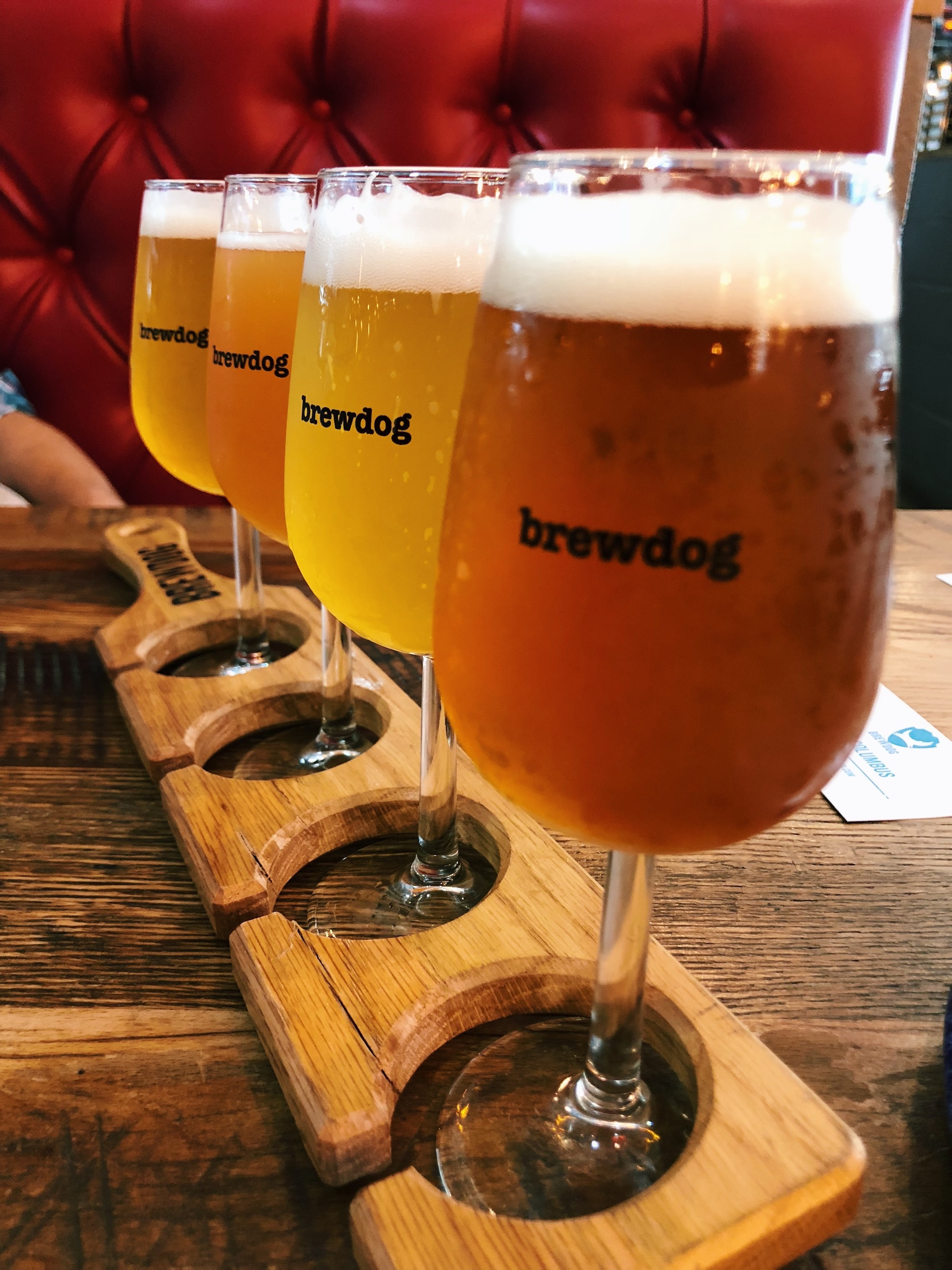 Beer flight from BrewDog
