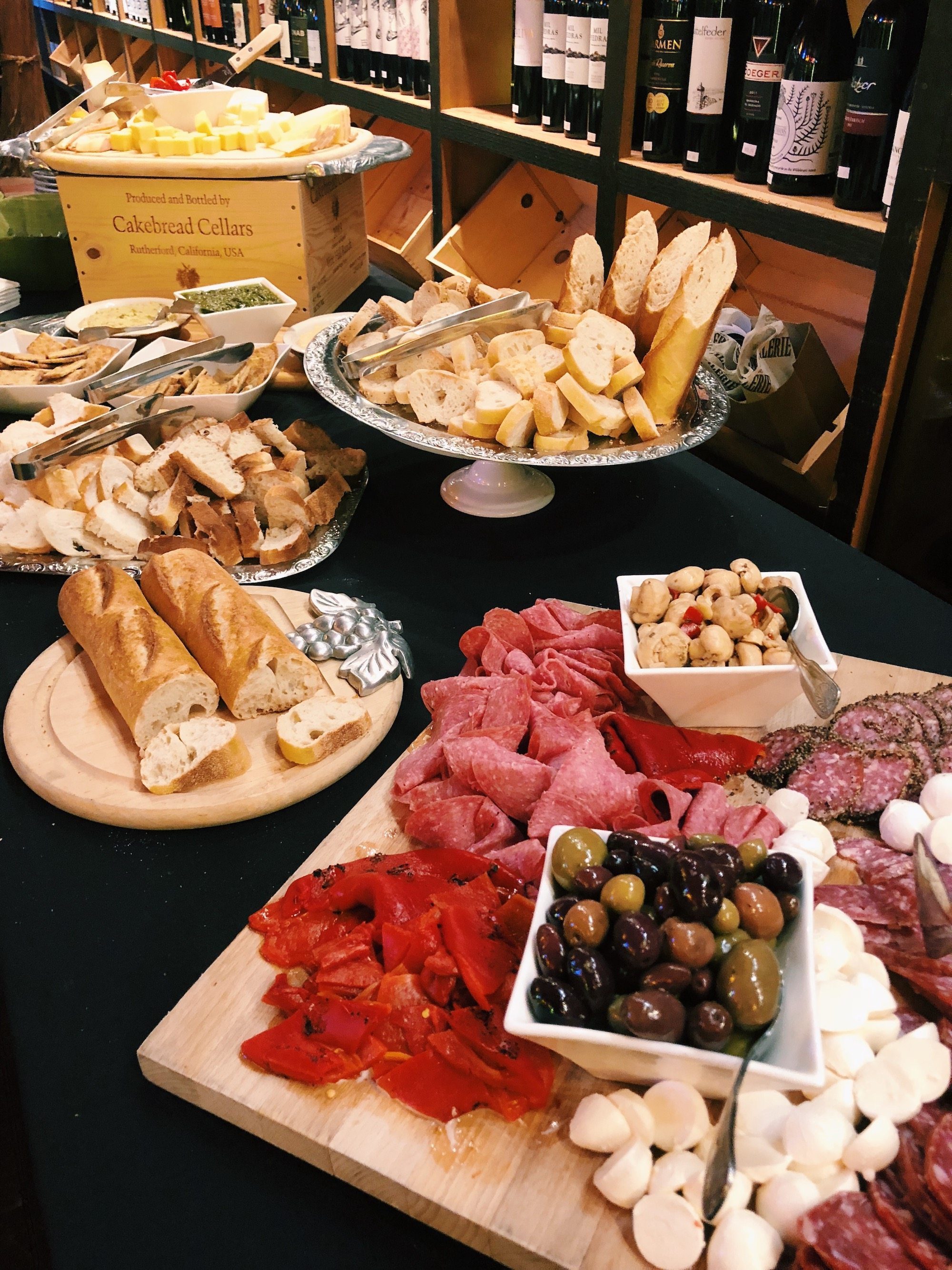 Charcuterie spread from Italian wine tasting