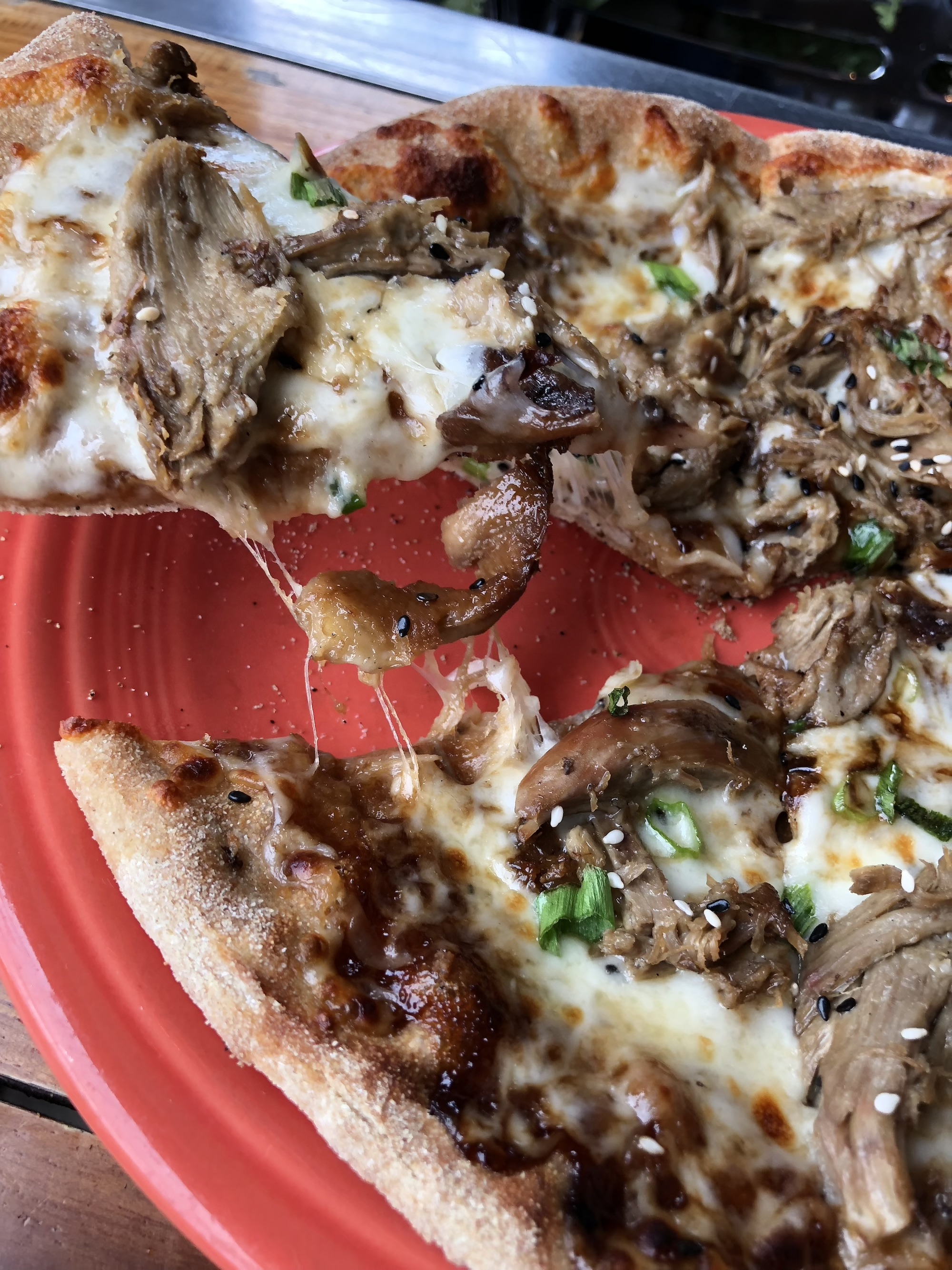 House smoked duck pizza