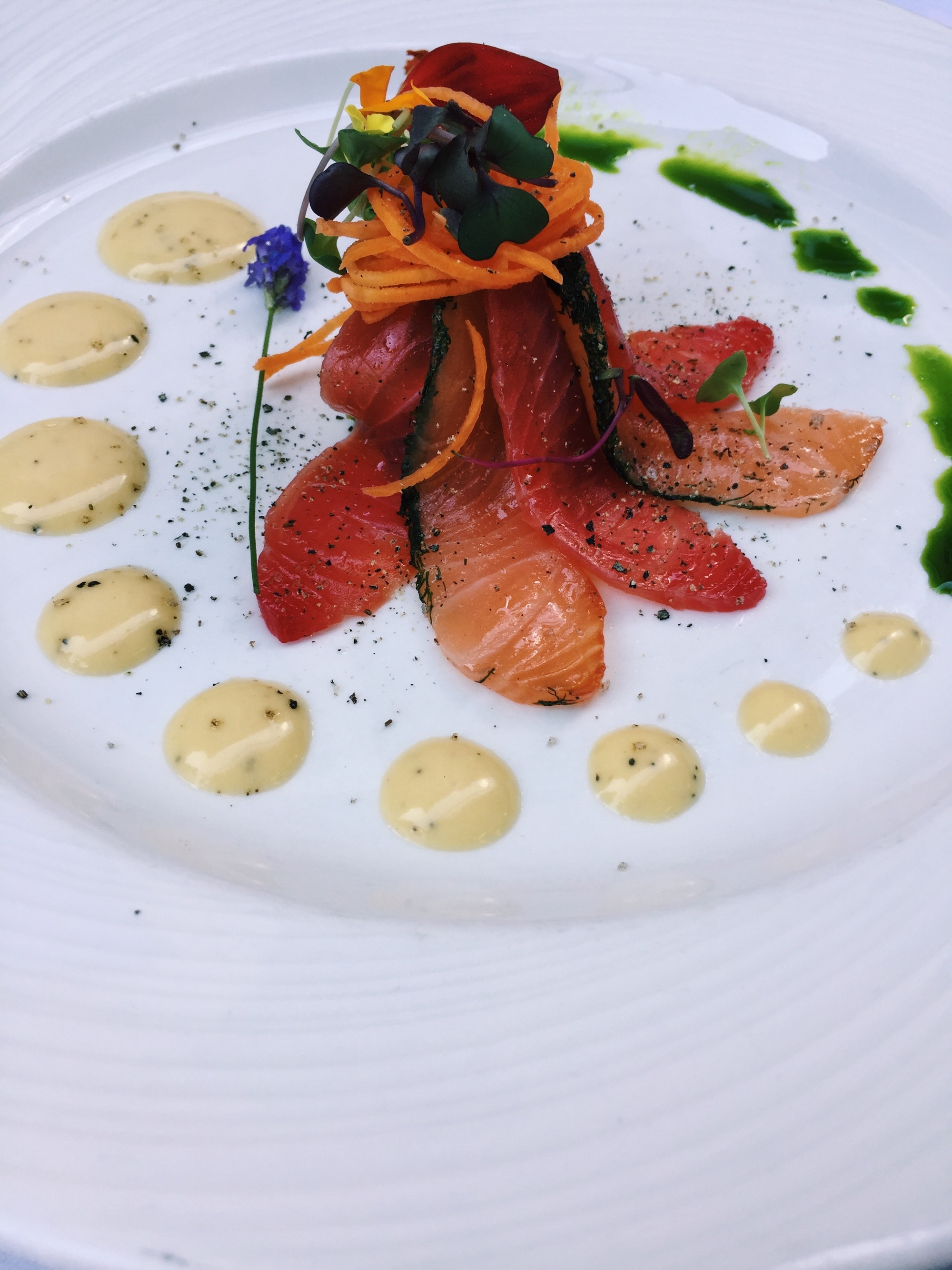 Beet Cured Verlasso Salmon Gravlax with an Octopus Remoulade
