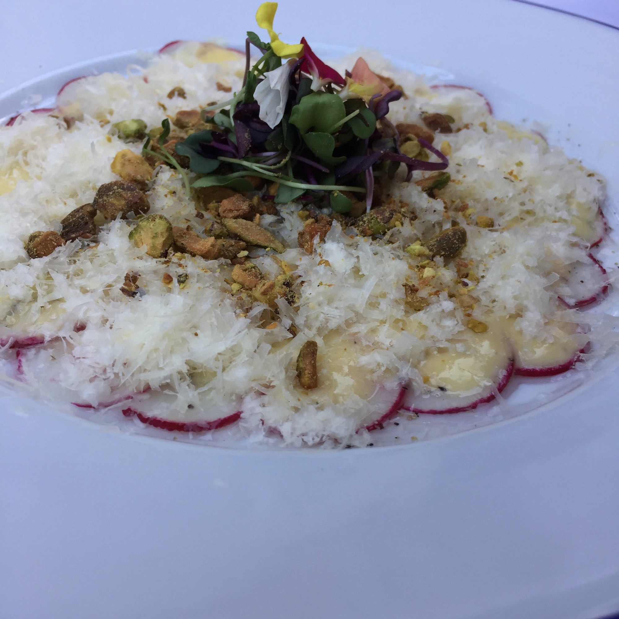 Red Raddish Carpaccio with Parmesan Cheese and Champagne Vinaigrette