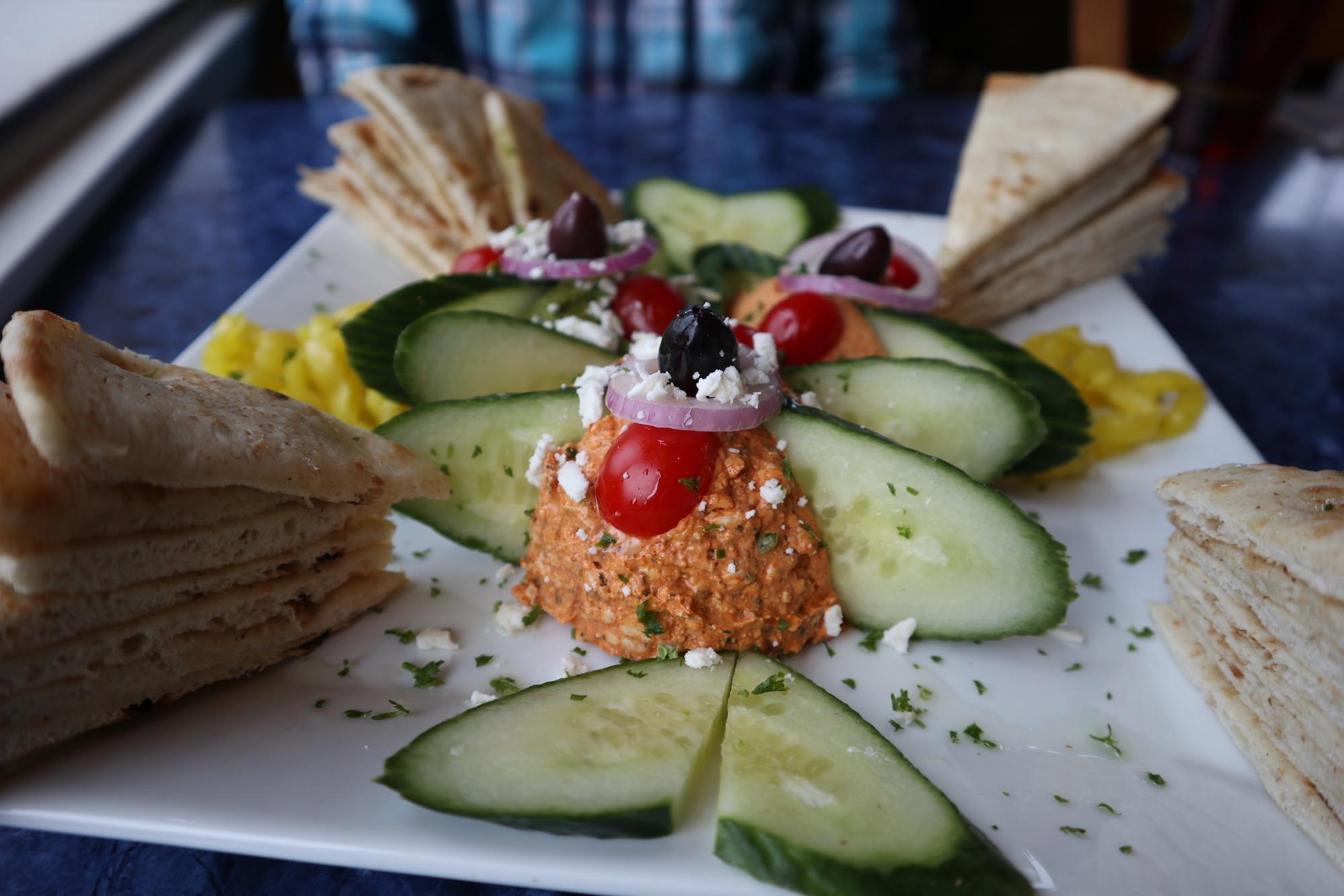 3 Greek dips: Hummus (chickpeas, garlic, tahini, & spices), Fire Feta dip (feta & spices), Mt. Olympus Dip (cilantro, parsley, chickpeas, tahini, & spices)