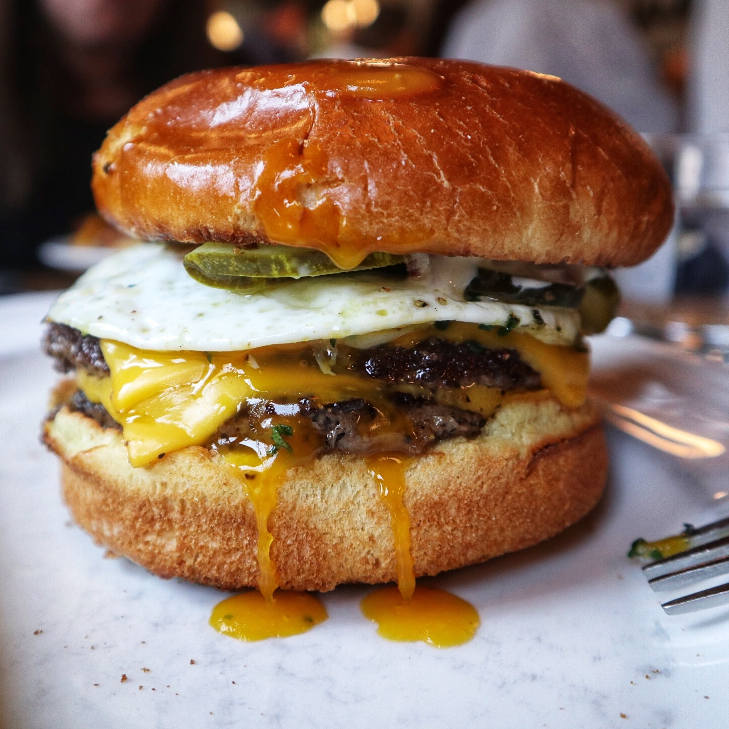 Diner burger with an egg- Au Cheval