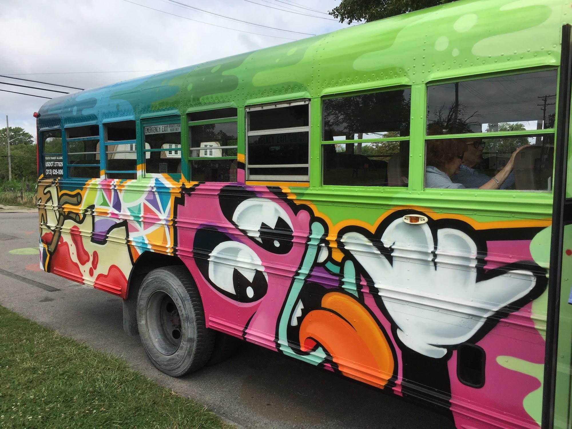We took a tour bus all around Detroit