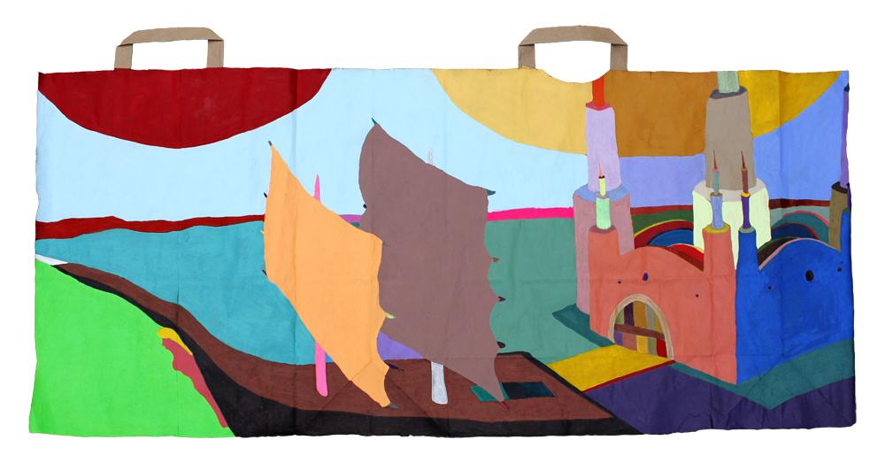 Boat Castle   gouache on a paper bag. 2016