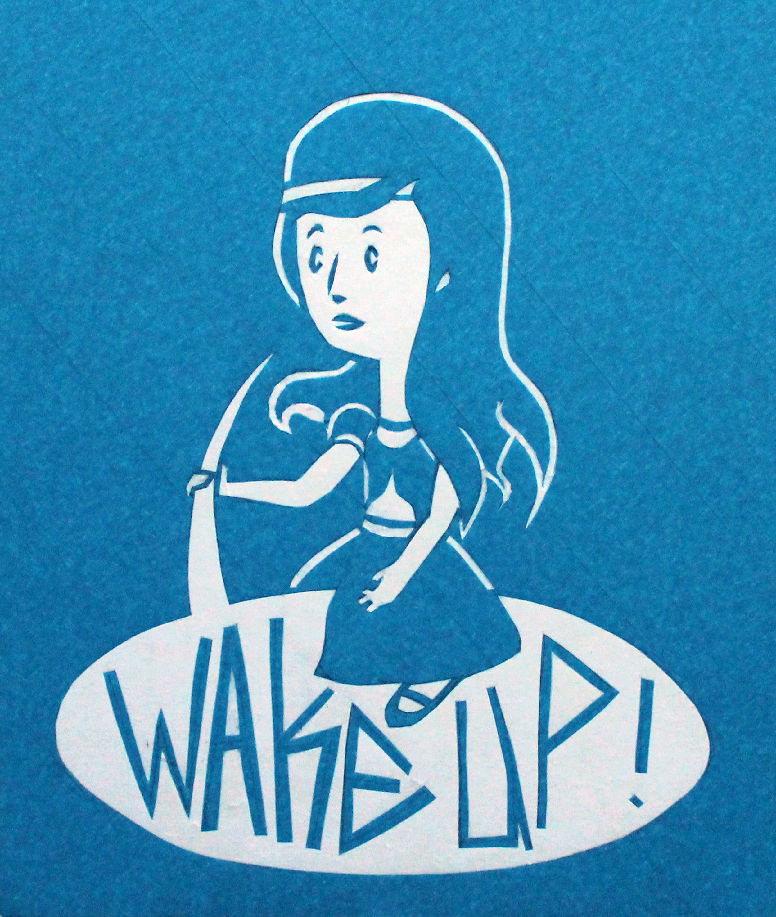 Wake Up   masking tape on paper, inspired by WPA posters, 2014