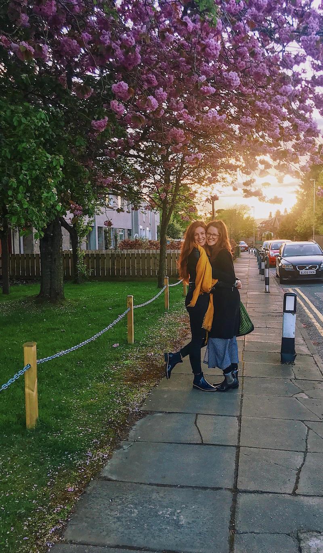 redhead-round-the-world-scotland-blogger-travel-sunset-sisters-flowers.JPG