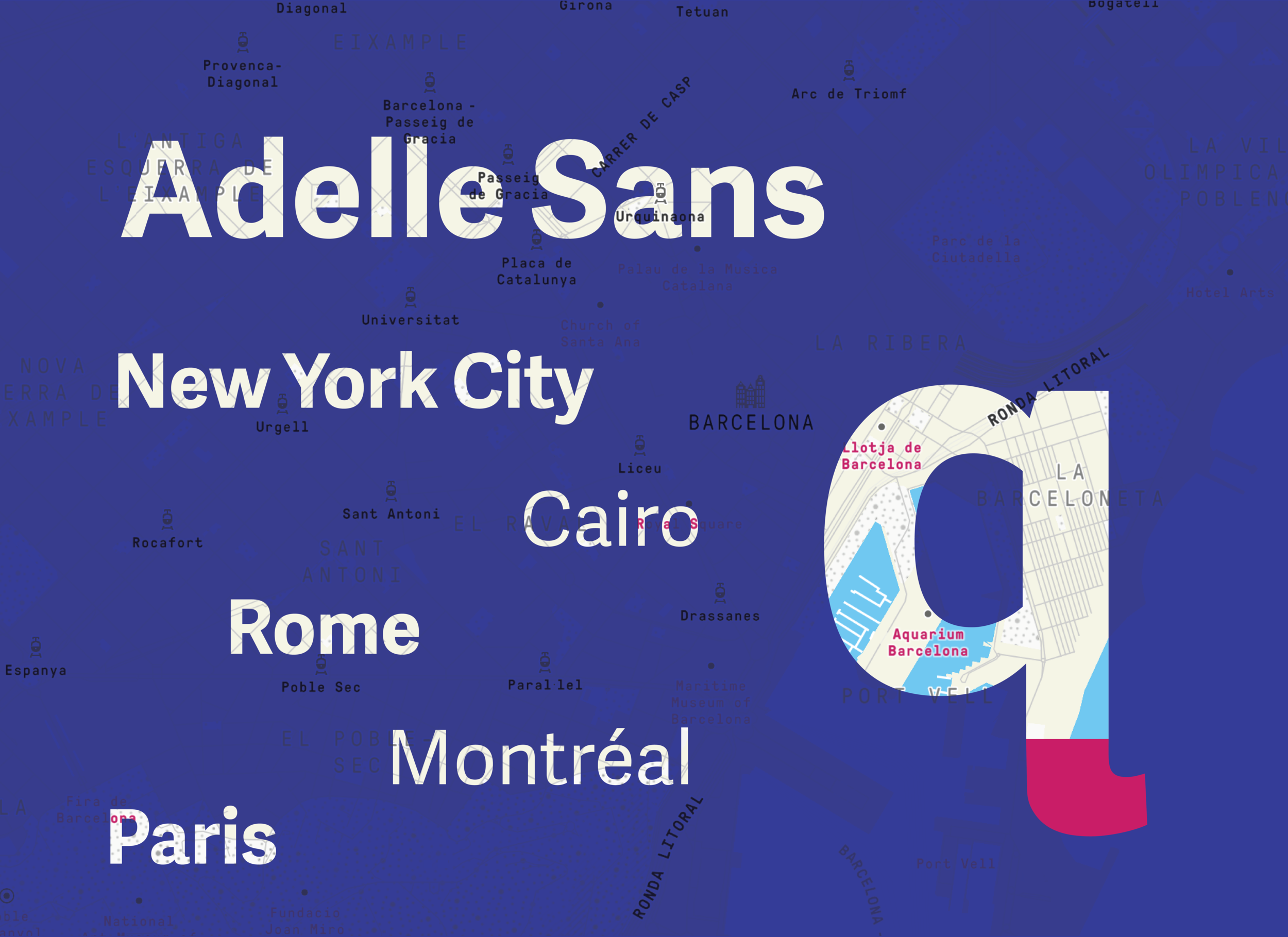 "The brand's main typeface uses Adelle Sans for its friendly, humanistic style. A custom descender ""q"" swash was created in order to meld with the ""a"" of the name ""quixota"", creating a stronger sense of movement."