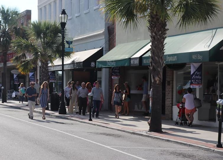 Visitors stroll along Downtown Beaufort, South Carolina