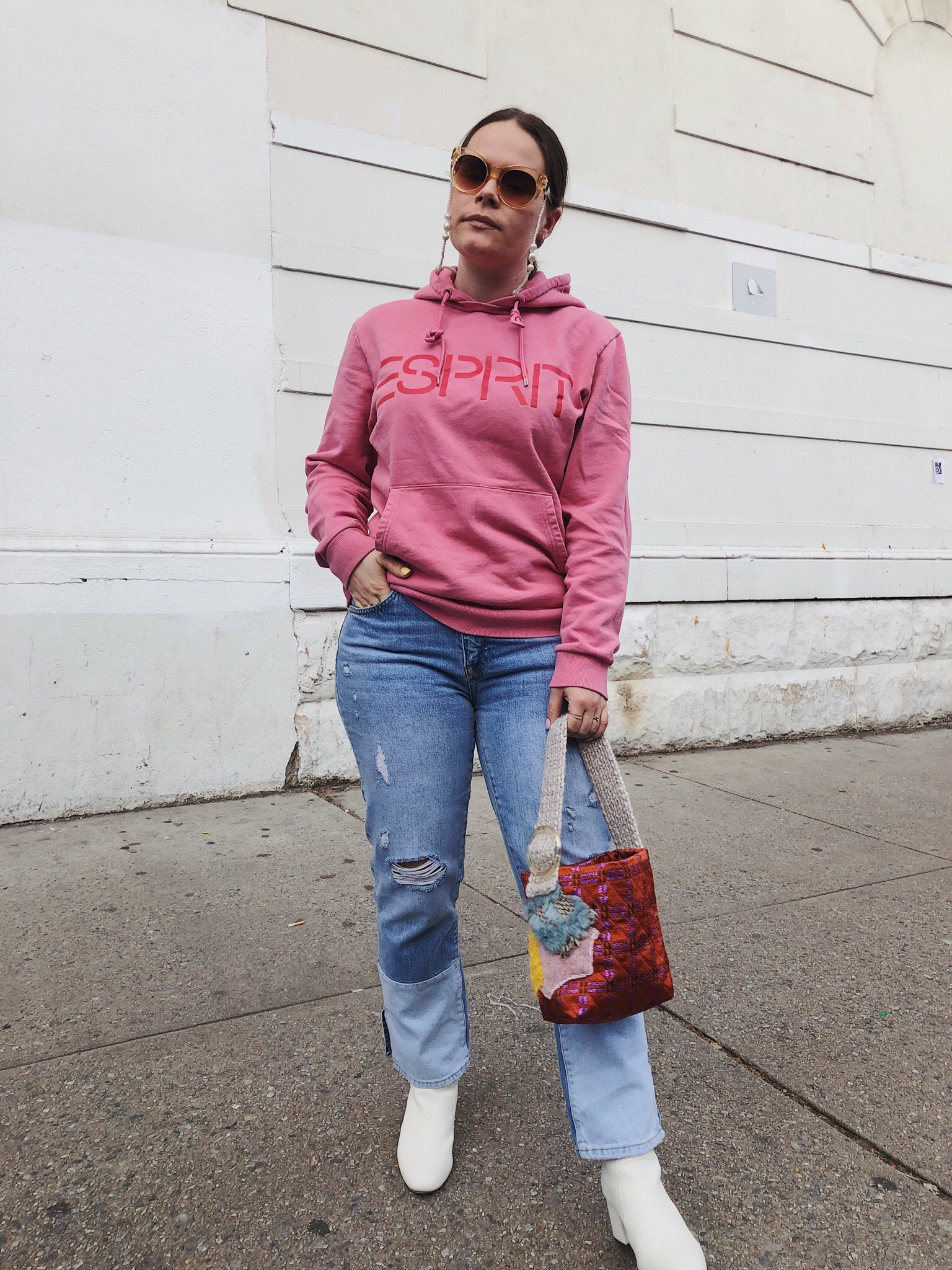 Sweater, sunglasses, & bag bought at a closet sale