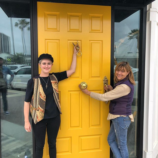 Almost time to add the hardware to the #lidoyellowdoor #doorsofdublin