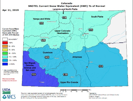C olorado SNOTEL Snow Water Equivalent (SWE) Update Map