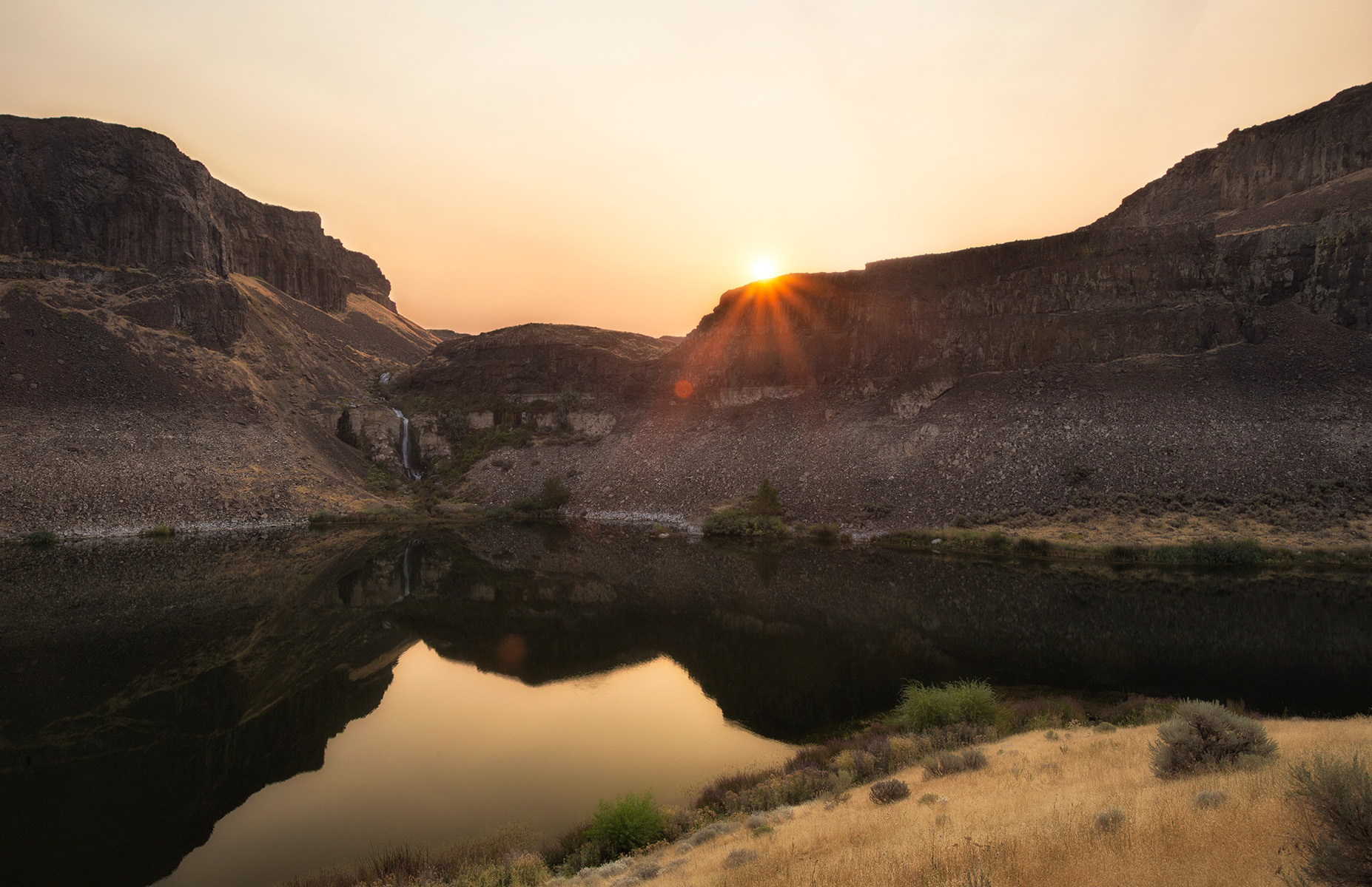 """Smoky Sunset at Ancient Lake"" - Columbia Basin, WA"